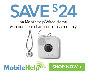 Save $24 on MobileHelp Wired Home annual plan at MobileHelp.com