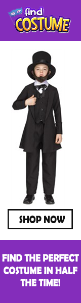 Presidents Day costumes, including Abraham Lincoln and other colonial characters at Find Costume