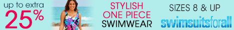 Up to an Extra 25% off Sizes 8 up stylish one piece swimwear at swimsuitsforall.com