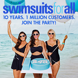 Happy 10th birthday, SwimsuitsForAll! 10 years with 1 million customers. Join the party at SwimsuitsForAll.com!