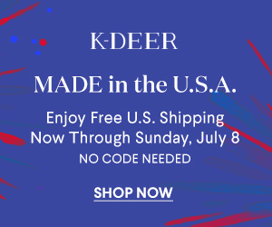 Made in the USA!  We are celebrating the Red, White and Blue this weekend with a FREE SHIPPING EVENT.  Enjoy free shipping on all US orders now through 07/08.  Visit K-DEER.com today!