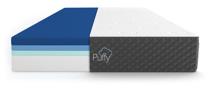 Puffy Mattress Military Discount Code Image of mattress layers.