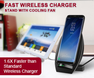 Fast Wireless Chargering Stand with Cooling Fan