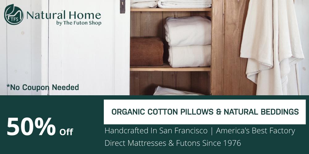 50% OFF Organic Cotton Pillows