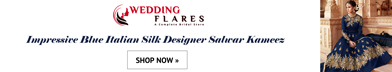 Impressive Blue Italian Silk Designer Salwar Kameez