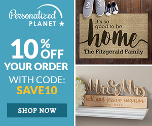 Save 10% On All Orders with code SAVE10 at PersonalizedPlanet.com