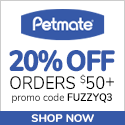 20% Off Orders $50+ with code FUZZYQ3 at Petmate.com 7/1-9/30/20.