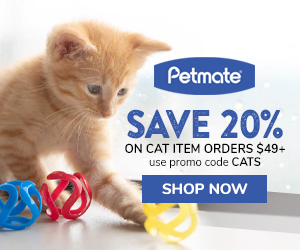 20% Off Cat Items with code CATS on orders $49+ at Petmate.com 7/10-7/16/20.