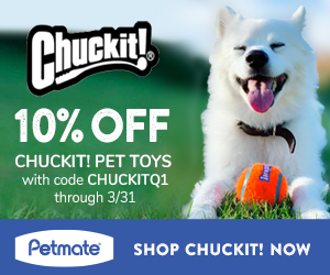 10% Off Chuckit! Fetch Toys with code CHUCKITQ1 at Petmate.com 1/1-3/31/21.