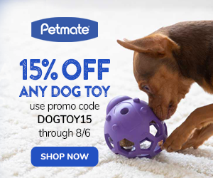 15% Off Dog Toys with code DOGTOY15 at Petmate.com 7/31-8/6/20.