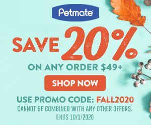 20% Off Orders $49+ with code FALL2020 at Petmate.com 9/25-10/1/20.