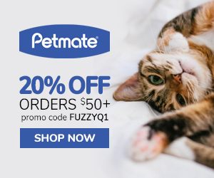 20% Off Orders $50+ with code FUZZYQ1 at Petmate.com 1/16-3/31/20.