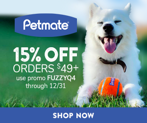 10% Off Orders $49+ with code FUZZYQ4 at Petmate.com 10/1-12/31/20.