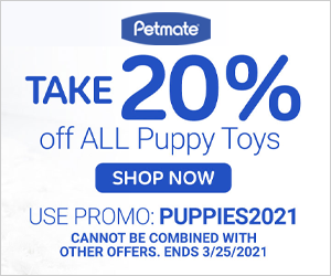 20% Off Puppy Toys with code PUPPIES2021 at Petmate.com 3/19-3/25/21.