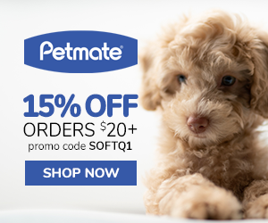 15% Off Orders $20+ with code SOFTQ1 at Petmate.com 1/16-3/31/20.