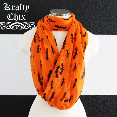 Bat scarves in orange or gray