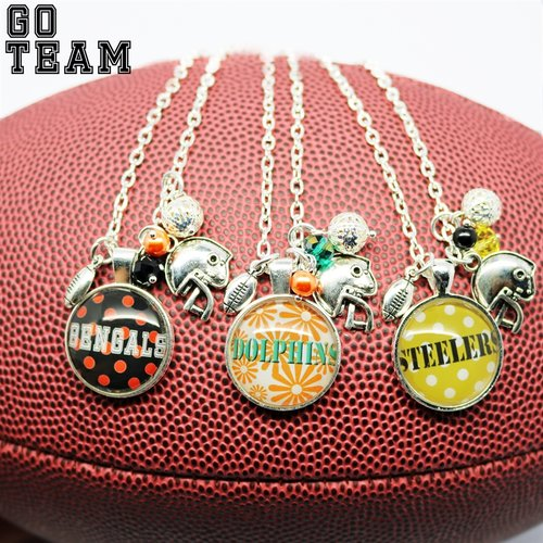 Game day football handmade necklace