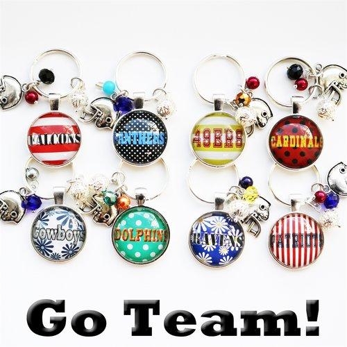 Sunday game day NFL football favorite team handmade keychain