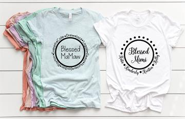 Blessed Mom custom t-shirts with childrens names in a circle