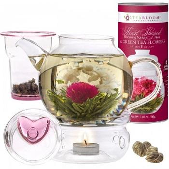 Heart Tea Gift Set flowering, blooming tea