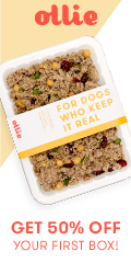 Get 50% off your first box of Ollie dog food