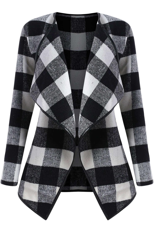 Iyasson Slim Plaid Long Sleeve Jacket Coat
