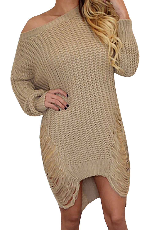 Iyasson Loose Hollow Out Irregular Sweater