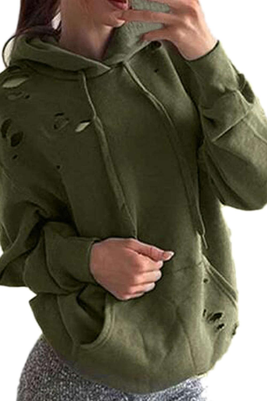Iyasson Solid Kangaroo Pocket Hoodie