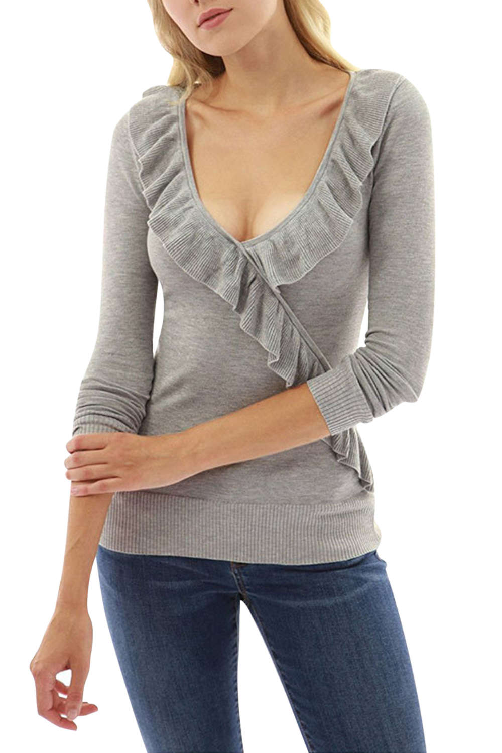 Iyasson Deep V-neck Ruffled Trim Neckline Long Sleeve T-shirt
