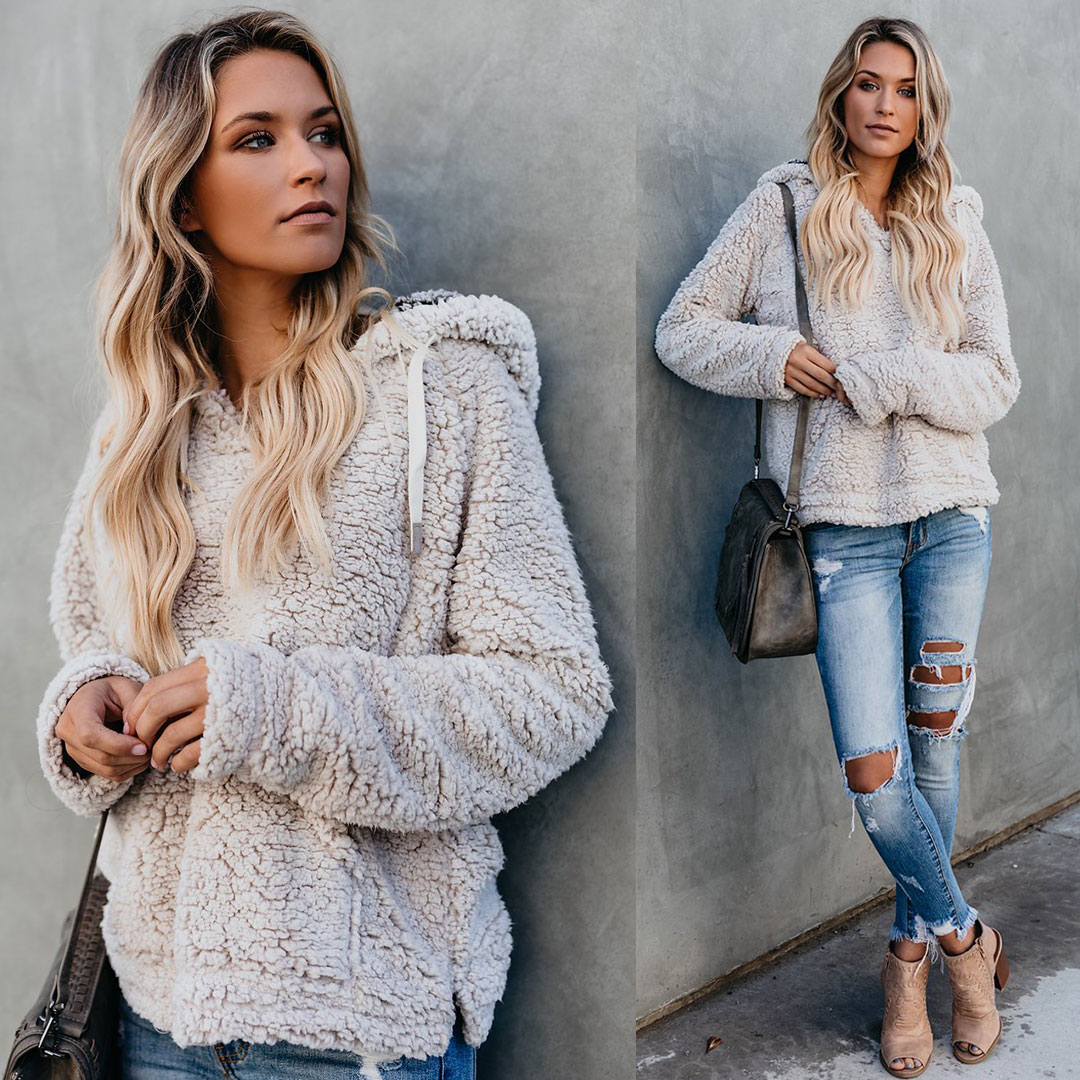 Fluffy Hooded Pocketed Pullover