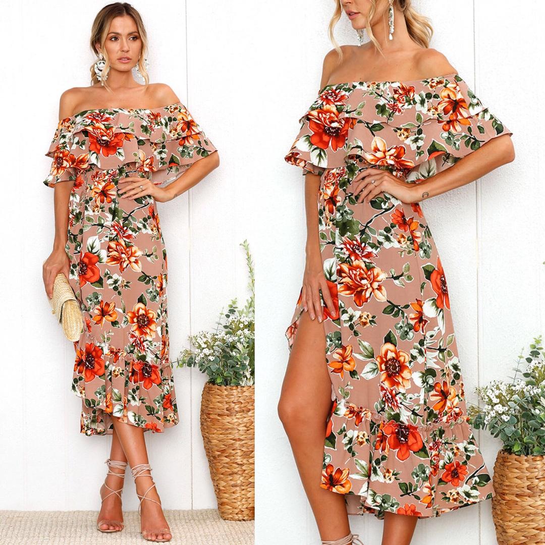 Off the Shoulder Short Sleeve Floral Dress