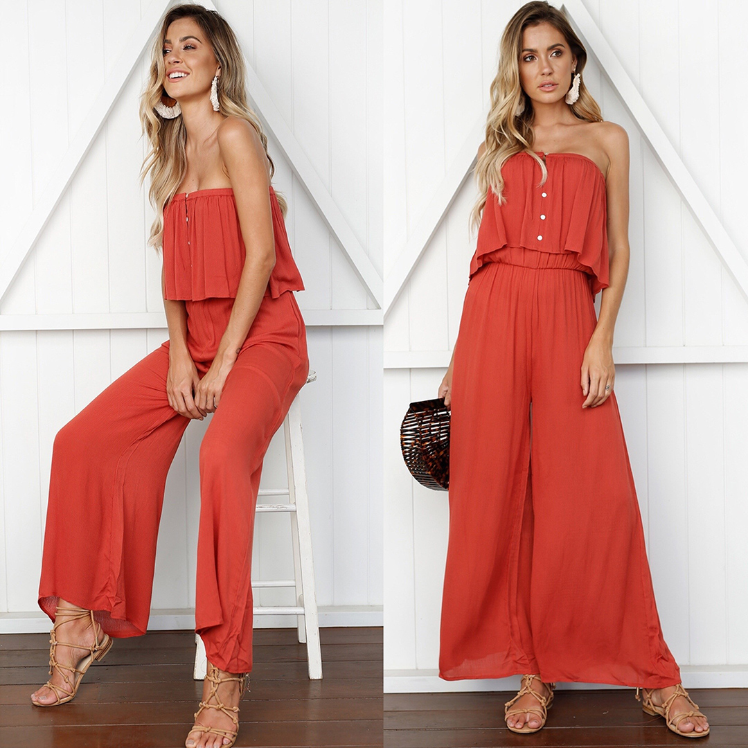 Sleeveless the Off Shoulder Backless Jumpsuit