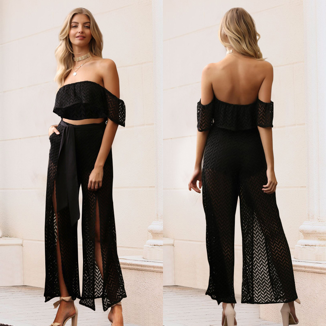 Off the Shoulder Backless Sleeveless Jumpsui