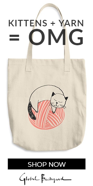 Kitty on Coral Yarn Ball Tote Bag