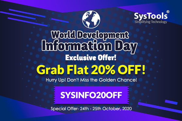 """""""SysTools World Development Information Day"""" Limited Offer: Treat Yourself With 20% OFF!"""