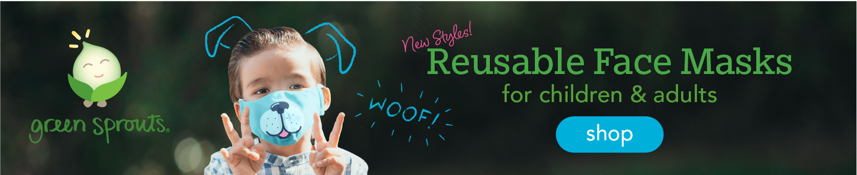 New Styles! Reusable Face Masks for children & adults
