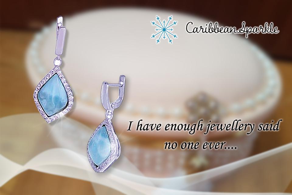 Diamond shaped larimar earrings
