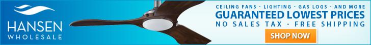 Hansen Wholesale - Ceiling Fans - Lighting - Gas logs