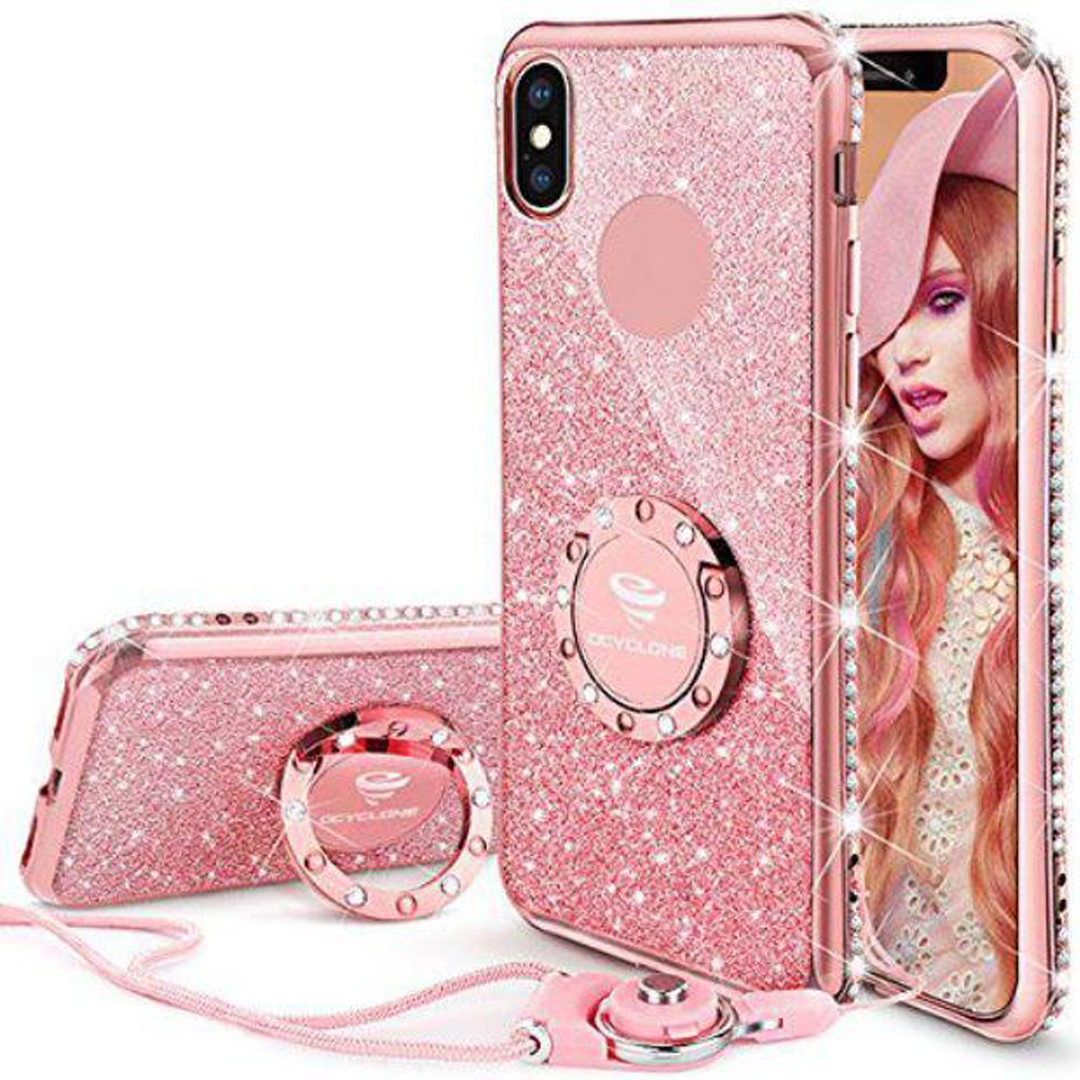 Bling iPhone X Case-Rose
