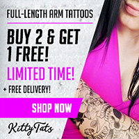 Buy 2 get your third FREE on all arm tattoos!