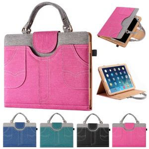 iPad Canvas Handbag Magnetic Flip Full-Body Protective Smart Pouch Stand Case