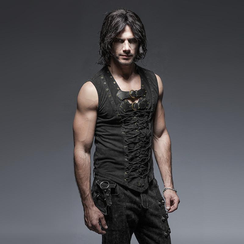 Men's Retro Lace Up Tank Top With Buckles Black