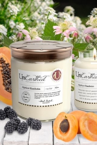 65 oz 3-wick-giant-big-huge-powerful apricot rambutan scented luxury candle strong essential oil infused with coconut soy vegan friendly premium luxury fragrance