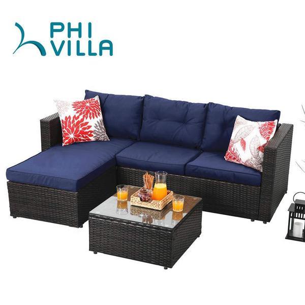 alphamarts.com - Save Extra 16% OFF For Phi Villa 3-Piece Rattan Outdoor Sectional Sofa Set