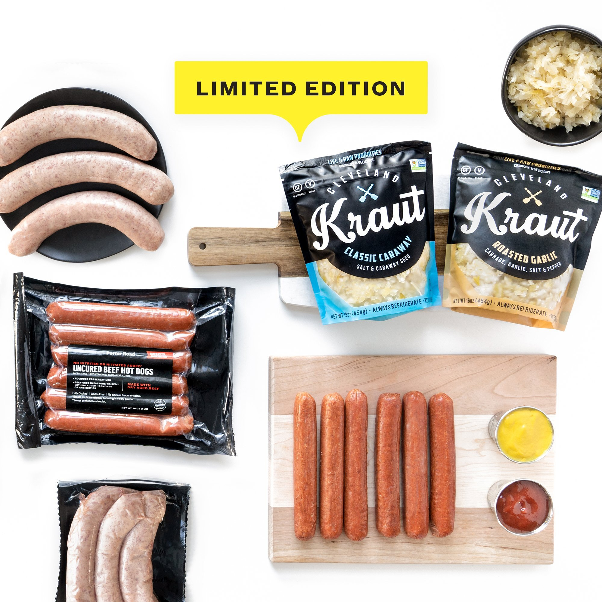 Kick off the summer with a limited edition collaboration bundle from Porter Road and Cleveland Kitchen! Porter Road's BYOBun Kit features Dry Aged Hot Dogs, Pork Brats, CK's Kraut & Roasted Garlic