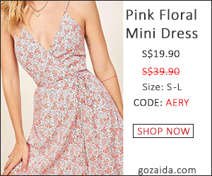 S$19.9 Summer pink floral mini dress S - L