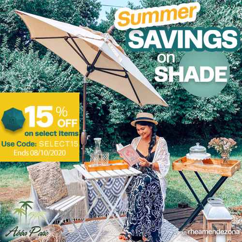 Summer Savings on Shade! 15% Off on Selected Items Plus Freeshipping! Use Code SELECT15. Ends 08/10/2020.