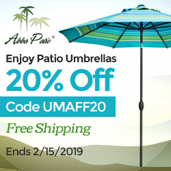 Enjoy patio umbrellas 20% off! Free shipping! Code UMAFF20. Ends 2/15/2019.
