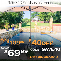 Big Sale! Get $40 Off to Buy 6.5 by 10 FT Market Umbrella! Use Code SAVE40. Ends 8/30/2019.