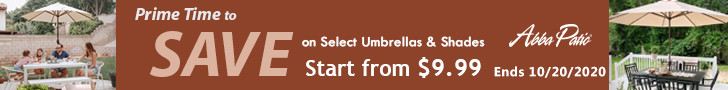 Start from $9.99! Prime Time to Save on Selected Umbrellas & Shades! Ends 10/20/2020.